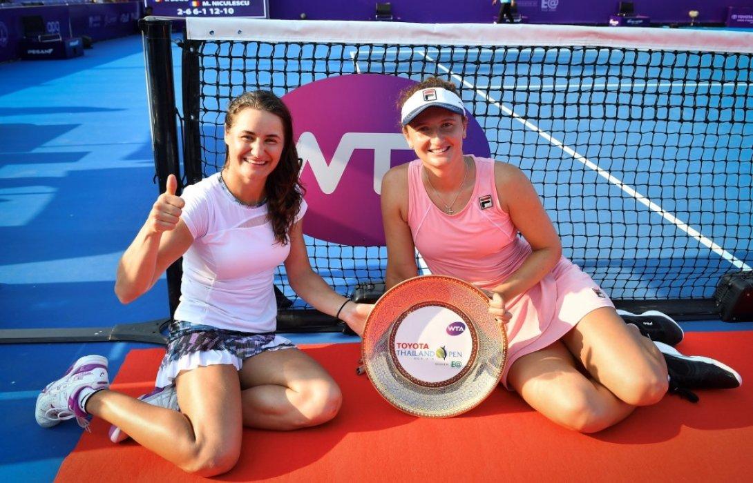 """คู่นักหวดสาวโรมาเนียผงาดแชมป์เทนนิส""""โตโยต้า ไทยแลนด์ โอเพ่น"""