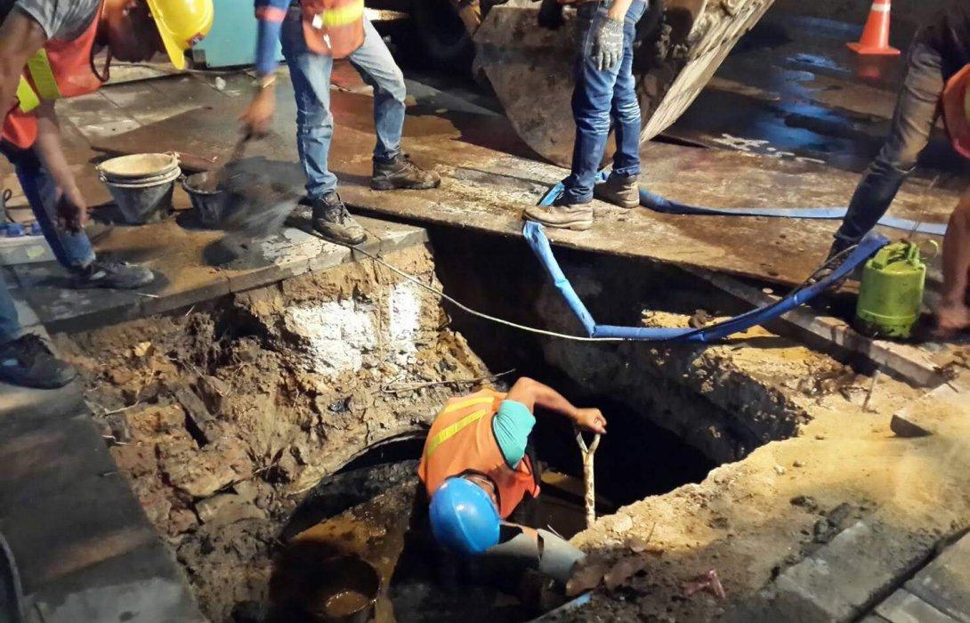 รฟม.เข้มลดผลกระทบสิ่งแวดล้อม ล้างท่อระบายน้ำรถไฟฟ้าสีน้ำเงิน