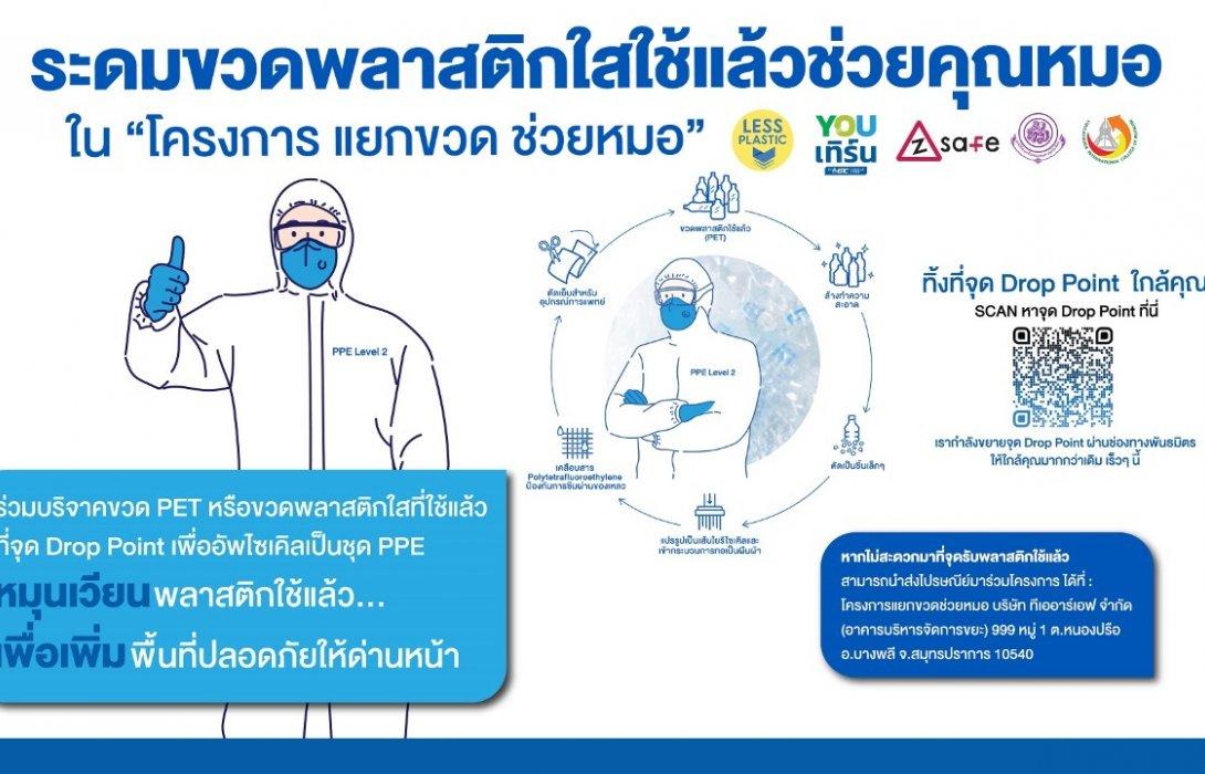 """เปิดรับบริจาคขวดพลาสติกใช้แล้ว (ขวด PET) ใน """"โครงการ แยกขวด ช่วยหมอ"""" ภารกิจระดมขวดเพื่อแปรรูป ตัดเย็บชุดป้องกันส่วนบุคคล (PPE) ให้บุคลากรทางการแพทย์"""